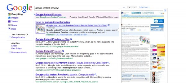 Search result website view with Google Instant Preview