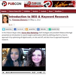 Click to View Rebecca Murtagh Video Intrdouction to SEO and Keywords for PubCon