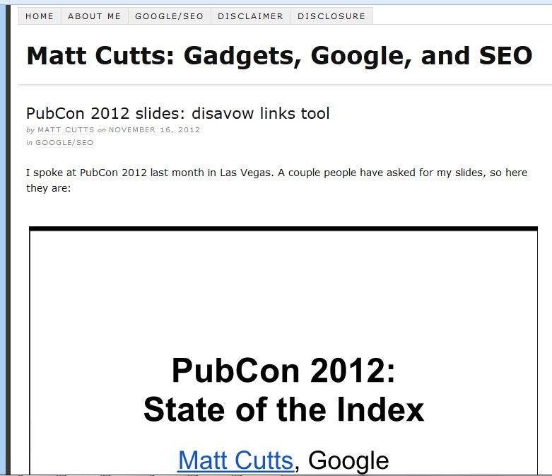 Matt Cutts Pubcon 2012 Presentation on Google Disavow Link Tool