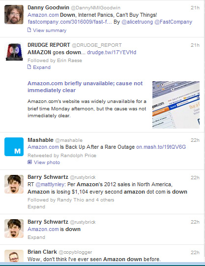 Twitter users react to Amazon.com being down