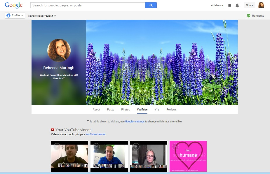 Google+ Profiles collect all Google assets in one place.