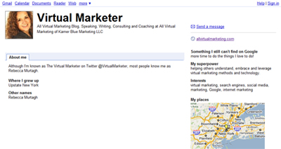 Google Profile for Virtual Marketer
