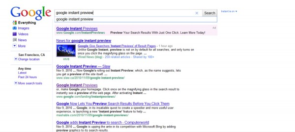 """google search result for """"google instant preview"""""""