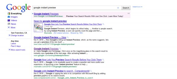 Search result with Google Instant Preview