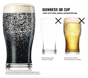 QR Code Appears when Guinness Beer is poured into glass