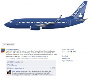 Southwest Rewards 3 million Likes with a Facebook Flash Sale