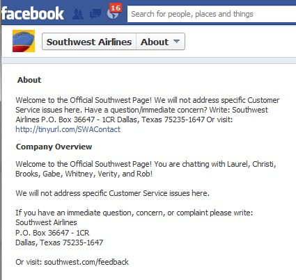 Contact info from Southwest Airlines Facebook page