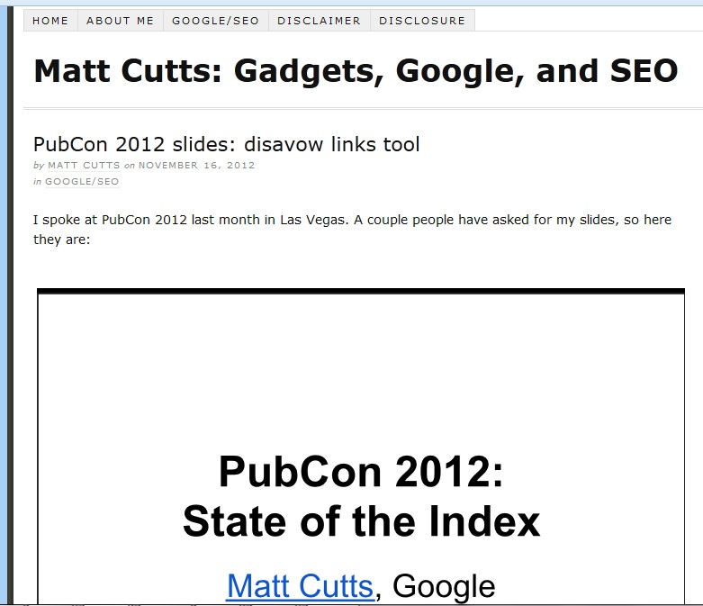 Matt Cutts Pubcon 2012 Presentation on Google Disavow Link Tool