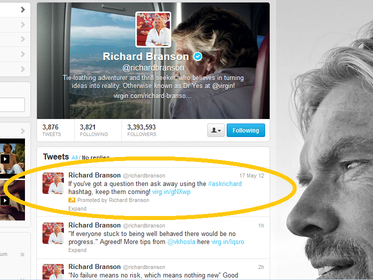 Richard Branson promoted tweet on Twitter