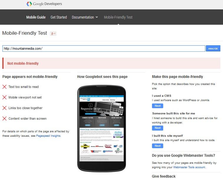 Google Mobile Friendly Test Fail